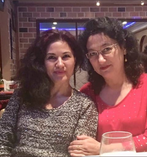 Rushan Abbas (left) with her sister Dr. Gulshan Abbas. Rushan has not seen her sister since September, 20018.