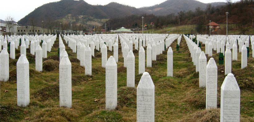 The cemetery at the Srebrenica-Potočari Memorial and Cemetery to Genocide Victims