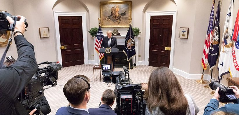 President Donald J. Trump addresses the illegal immigration crisis and gives an update on border security. November 1, 2018 in the Roosevelt Room at the White House.