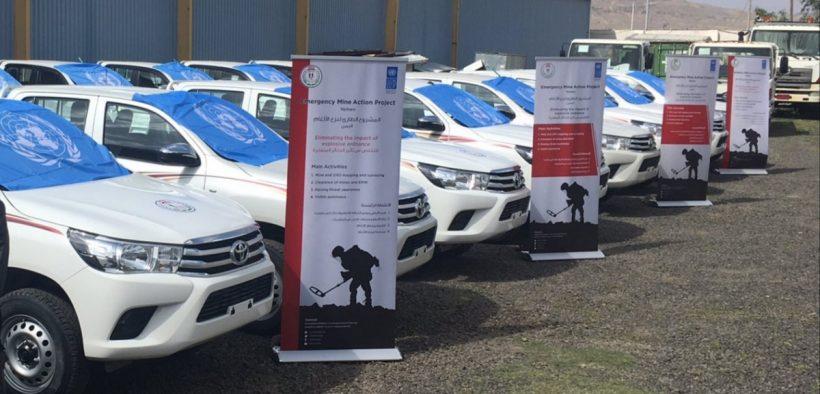 Доставка бронированной техники 20 Hilux в Йеменский исполнительный центр действий (Фото: ПРООН)