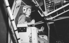 Jerrie Cobb, a well known female pilot in the 1950s, testing Gimbal Rig in the Altitude Wind Tunnel, AWT in April 1960. The Gimbal Rig, formally called MASTIF or Multiple Axis Space Test Inertia Facility, was used to train astronauts to control the spin of a tumbling spacecraft. Jerrie Cobb was the first female to pass all three phases of the Mercury Astronaut Program but NASA rules stipulated that only military test pilots could become astronauts and there were no female military test pilots. Jerrie completed this astounding feat in 1961. The MASTIF was installed at the Altitude Wind Tunnel at the Lewis Research Center, now John H. Glenn Research Center. (Photo: NASA)