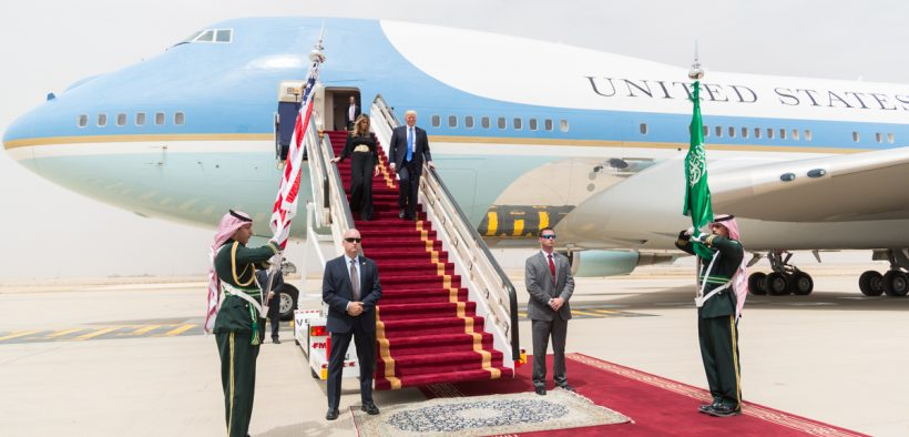 President Donald Trump and First Lady Melania Trump arrive in Rihad, Saudi Arabia, Saturday, May 20, 2017, for the start of their overseas visit to Saudi Arabia, Israel, Rome, Brussels and Taormina, Italy. (Official White House Photo by Shealah Craighead)