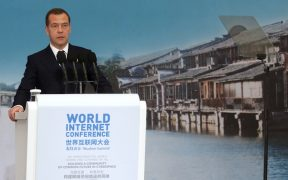Dmitry Medvedev attends the opening ceremony of the 2nd World Internet Conference