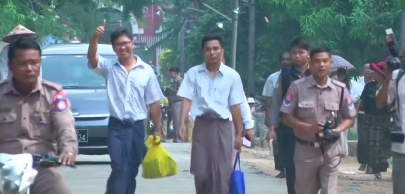 Wa Lone, 33, and Kyaw Soe Oo, 29, after being released from a prison in Myanmar. (YouTube screenshot)