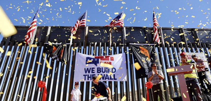 A portion of the border wall built by We Build The Wall, a private group that raised money through a GoFundMe account, on private land in El Paso's west side. The group held a rally to celebrate construction of the wall on May 30. Ivan Pierre Aguirre for The Texas Tribune.