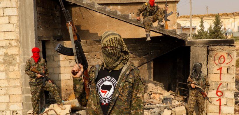 British fighters of the International Freedom Battalion's 0161 Antifa Manchester Crew in Rojava