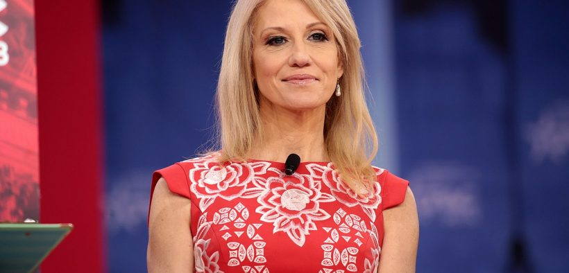 Kellyanne Conway speaking at the 2018 Conservative Political Action Conference (CPAC) in National Harbor, Maryland.