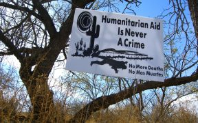 Sign posted by No More Deaths in 2005 on the road between This one was on the road between Arivaca and Tucson, Arizona. (Photo: benketaro)