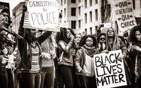 Démilitariser la police, les vies noires comptent. Novembre 10, 2015. (Johnny Silvercloud)