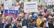 Rally para exigir que Donald Trump libere suas declarações de impostos
