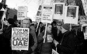Anti-Britse wapenverkoop protest in Londen, maart 2018. (Foto: Alisdare Hickson)