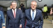 Arrival of Scott Morrison (right), Prime Minister of Australia at G20, November 2018. (Photo: G20 Argentina)