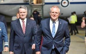 Arrivo di Scott Morrison (a destra), Primo Ministro australiano di G20, novembre 2018. (Foto: G20 Argentina)