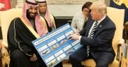 President Donald J. Trump, joined by crown prince Mohammed bin Salman, shows informational boards showing how much business the Kingdom of Saudi Arabia generates for the U.S. economy after their meeting at the White House in March, 2018. (Photo: Official White House photo, Shealah Craighead)