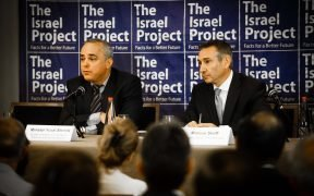 Israeli cabinet minister Yuval Steinitz (left) with TIP's Marcus Sheff The Israel Project Half Day Briefing, May 28, 2013