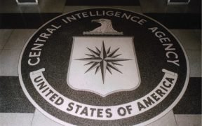 The seal of the U.S. Central Intelligence Agency inlaid in the floor of the main lobby of the Original Headquarters Building.
