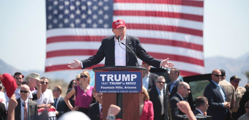 Donald Trump speaks at a 2016 campaign event in Fountain Hills, Arizona, before the March 22 primary. (Photo: Gage Skidmore)