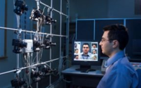 NIST computer scientist Ross Micheals demonstrates studying the performance of facial recognition software programs. (Courtesy of Wikimedia Commons)