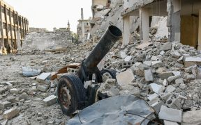 A hell cannon found after the battle of Aleppo in December 2016.