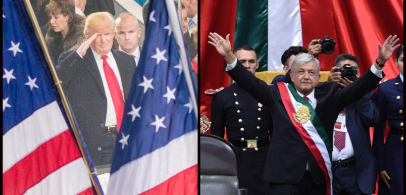 Left: President Donald J. Trump salutes while watching the inaugural parade from the White House reviewing stand in Washington D.C., Jan. 20, 2017. (Photo: DoD, Navy Petty Officer 2nd Class Dominique A. Pineiro) Right: Andrés Manuel López Obrador, President of Mexico, December 2018. (Photo: Mexican Government)