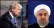 Donald Trump falando com a mídia em um hangar no Mesa Gateway Airport em Mesa, Arizona. (Foto: Gage Skidmore) O presidente iraniano, Hassan Rouhani, realizou uma entrevista coletiva após sua vitória na eleição presidencial da 2017. (Foto: Mahmoud Hosseini)