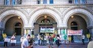 Protesters denounce Donald Trump outside the the Trump International Hotel, Washington, DC USA. September, 2016. (Photo: Ted Eytan)