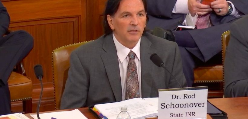 Dr. Rod Schoonover, Office of Geography and Global Affairs, State Department Bureau of Intelligence and Research testifying Wednesday, June 5, 2019 at the House Permanent Select Committee on Intelligence which convened an open hearing about the national security implications of climate change. (Photo: YouTube)