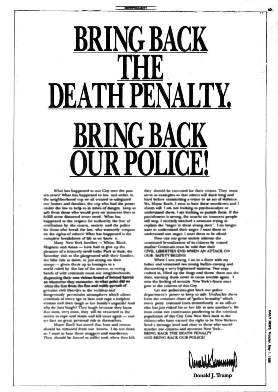 Trump Bring Back Death Penalty ad 1989