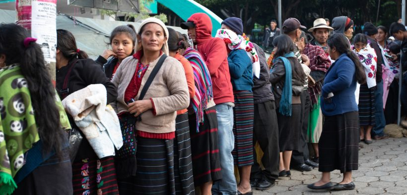 San Sebastián, Huehuetenango, Guatemala, residents stand in line to receive medical and dental care May 20, 2019 at a medical readiness training exercise during Beyond the Horizon 2019. Guatemala Ministry of Public Health, U.S. Forces, Florida International University non-governmental organization, Guatemala Ministry of Social Services and Guatemalan forces provided medical, dental and pharmaceutical care to more than 3,700 San Sebastián residents at the Beyond the Horizon 2019 medical readiness training exercise May 20-24, 2019. Beyond the Horizon is an annual exercise designed to build partner nation capacity for civil and military response to major disasters and the relationships built and sustained through this exercise demonstrate the ability of the U.S., and regional partners, to access and execute disaster relief activities throughout Central America. (U.S. Army photo by Sgt. Christina M. Dion)