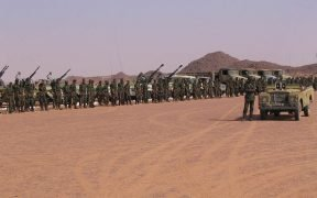 Gathering of Saharawi troops, near Tifariti (Western Sahara), celebrating the 32nd anniversary ot the Polisario Front.