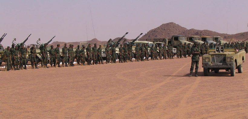 Raduno delle truppe Saharawi, vicino a Tifariti (Sahara Occidentale), per celebrare l'32esimo anniversario del Fronte Polisario.