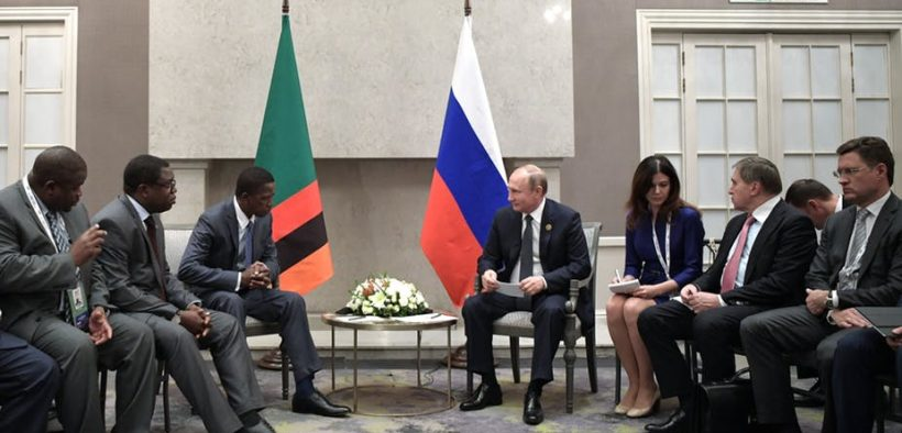 Russian President Vladimir Putin and Zambian President Edgar Lungu meet on the sidelines of the BRICS Summit in Johannesburg in 2018. EPA-EFE/Alexei NikolskySputnik/Kremlin Pool