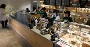 PHOTO DETAILS / DOWNLOAD HI-RES 1 of 2 Baristas work behind the counter Jan. 29, 2018, at a new Starbucks coffeehouse that recently opened in the Army and Air Force Exchange Service Mini Mall at Sheppard Air Force Base, Texas