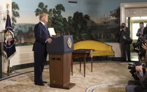 Le président Donald J. Trump prononce un discours sur le plan d'action global commun