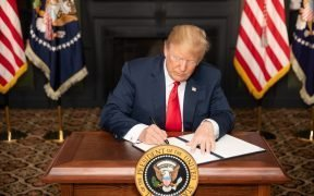 "President Donald J. Trump signs an Executive Order in Bedminster, New Jersey, entitled ""Reimposing Certain Sanctions with Respect to Iran."" (Official White House Photo by Shealah Craighead)"