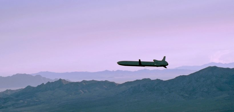 An unarmed AGM-86B air-launched cruise missile maneuvers over the Utah Test and Training Range enroute to its final target Sept. 22, 2014, during a Nuclear Weapons System Evaluation Program simulated combat mission.