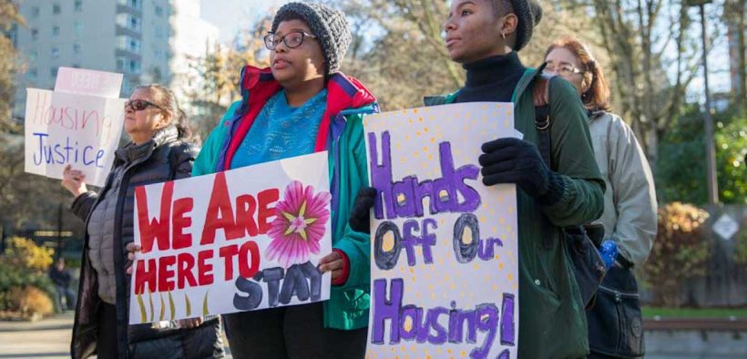 Hands off housing at Tenant Rights Rally - December 2017 Photos by Alex Garland