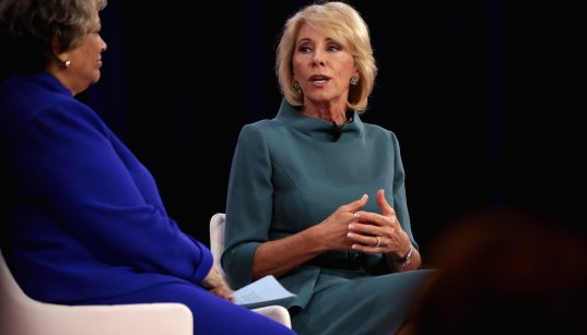 U.S. Secretary of Education Betsy DeVos speaking at the 2018 Conservative Political Action Conference (CPAC) in National Harbor, Maryland.
