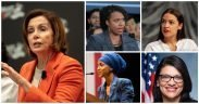 (Photos: Nancy Pelosi by Gage Skidmore, AOC by NRKBeta, Rashida Tlaib by U.S. Congress, Ayanna Pressley by ElizabethForMA, Ilhan Omar by Lorie Shaull)
