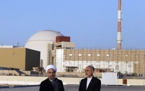 Iranian President Hassan Rouhani and Head of the Atomic Energy Organization of Iran (AEOI) Ali Akbar Salehi at Iran's Bushehr Nuclear Plant.