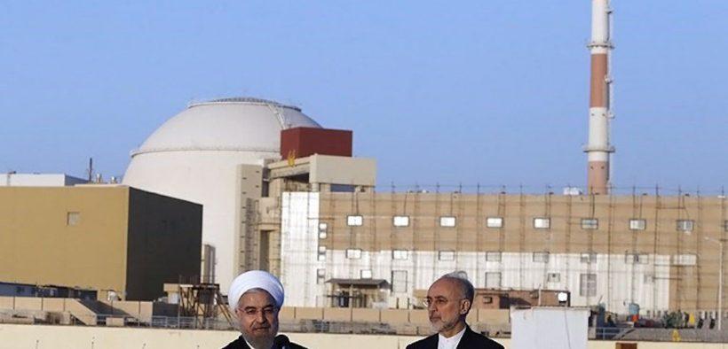 Iranian President Hassan Rouhani and Head of the Atomic Energy Organization of Iran (AEOI) Ali Akbar Salehi at Iran's Bushehr Nuclear Plant.