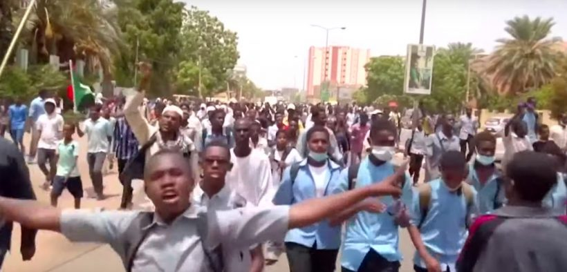 Dozens of demonstrators, including students, took to the streets of Khartoum Tuesday, July 30, to condemn the killing of four school children and an adult in the Sudanese city of El-Obeid the day before.