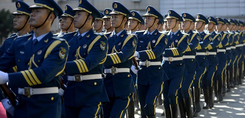 People's Liberation Army Air Force members march during a welcome ceremony in honor of Air Force Chief of Staff Gen. Mark A. Welsh III, hosted by PLAAF Commander Gen. Ma Xiaotian Sept. 25, 2013, in Beijing, China. (Photo: U.S. Air Force, Scott M. Ash)