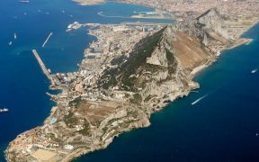 An aerial photo of Gibraltar after take-off from the Rock, looking north-west towards San Roque.