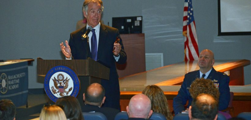 Massachusetts Representative, Richard Neal, addresses attendees of the 2013 Academy Seminar, held at Westover Air Reserve Base, Chicopee, Mass, April 28th. Congressman Neal and Col. Steven Vautrain, 439th Wing Commander, congratulated six new academy appointees. (U.S. Air Force photo/SrA. Kelly Galloway)