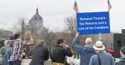 Around 2500 people met at the Minnesota capitol grounds in April, 2017 to call on Republican President Donald Trump to release his returns, divest his holdings, and disclose his conflicts of interest. (Photo: Fibonacci Blue)
