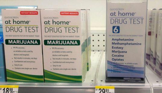 Drug test at home, instant results, marijuana, amphetamine, methamphetamine, ecstasy, cocaine, opiates, $19 - $30 USD, top, front shelf, Walgreens, Anchorage, Alaska, USA. (Photo: Wonderlane)