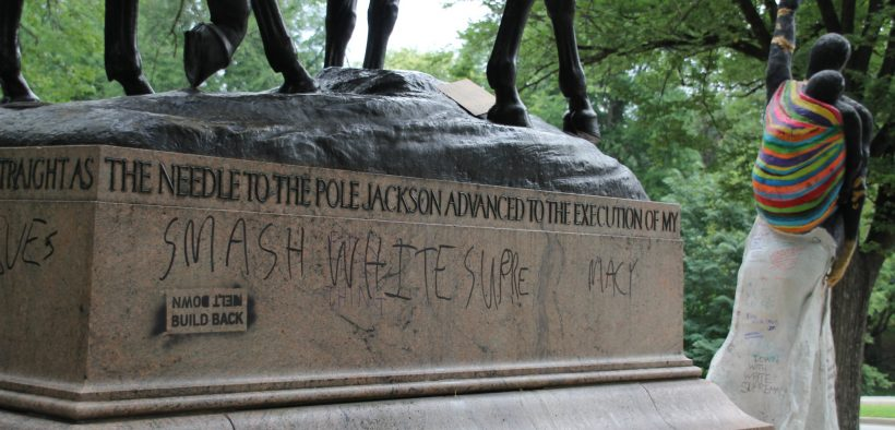 Documentation of public intervention and graffiti at confederate monument sites in wake of Charlottesville riots.