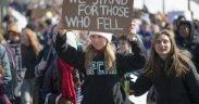 March For Our Lives Protesto estudantil pelo controle de armas. St. Paul, Minnesota, março 7, 2018.