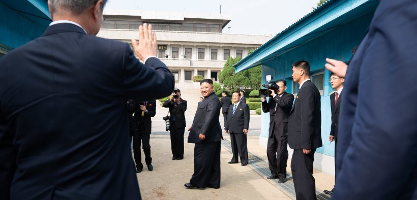 President Donald J. Trump and Republic of South Korea President Moon Jae-in bid farewell to Chairman of the Workers' Party Kim Jong Un Korea Sunday, June 30, 2019, at the demarcation line separating North and South Korea at the Korean Demilitarized Zone. (Photo: Shealah Craighead)